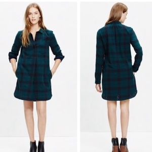 Madewell Shirt Dress Long Sleeve Half Button Plaid